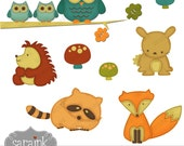 Woodland Forest Animals Clipart Download - Cute digital clip art for Personal and Commercial Use
