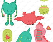 Love Monster Clip Art Downloads - for Personal and Commercial Use - Cute Little Monsters clipart