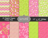 Digital Papers Download - Pink and Lime Green Graphic Scrapbook Papers for Personal and Commercial Use