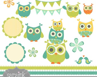 Owls and Flowers Clip Art Download in Blue Greens - Personal and Commercial Use Digital clipart