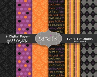 Halloween Digital Papers Instant Download - Graphic Scrapbook Papers for Personal and Commercial Use