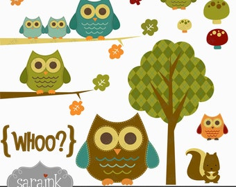Woodland Owl Clipart Download - Cute digital clip art for Personal and Commercial Use