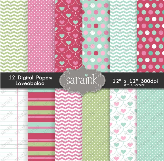 Loveabaloo Digital Papers Download - Heart and Valentine Backgrounds for Personal and Commercial Use