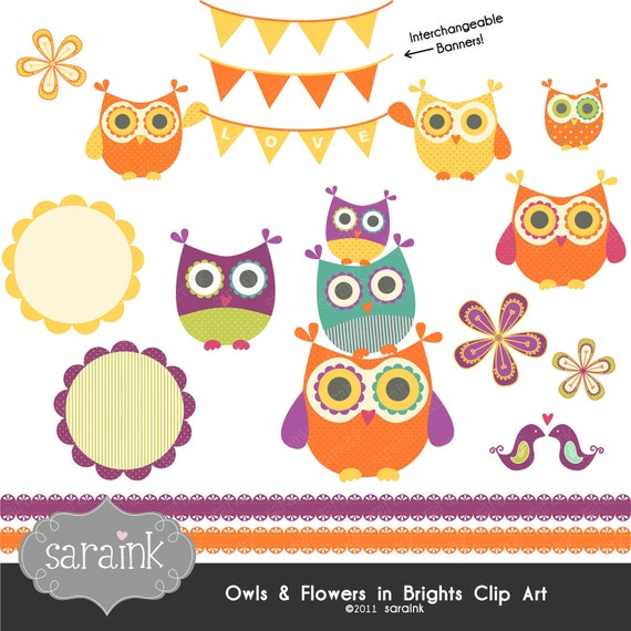 Owl and Flower Clipart Download - Bright, Funky & Cute Owls - Personal and Commercial Use Digital clip art