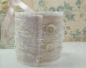 OOAK-Ivory & White Beaded Bridal Fabric Cuff-Shabby- Fibers-Vintage Buttons-Lace-Satin-Handmade-Vintage Inspired-Weddings-Unique Gift