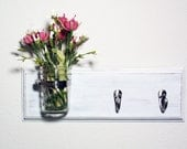 Cottage Chic- 2 Hook- Flower Vase- Key Hooks- Cottage Chic- French Chic- Shabby- Country Decor- Choose From Many Colors