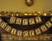 Happy Anniversary Banner Garland Word Sign Wall Art Wedding 50th 25th Golden Silver Can Customize and add Names (AN1)