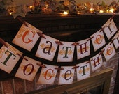 Thanksgiving Banner Gather Together Garland Sign Orange, Brown, Yellow, Green Fall Colors (TH8)