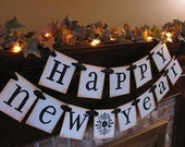 Happy New Year Banner Garland Sign Black and White but Can Custom Colors New Year's Eve Party Decoration (NY1)