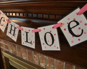 Custom Personalized Baby Toddler Teen Girl Name Banner Garland Sign Monogram Polka Dots (P25)
