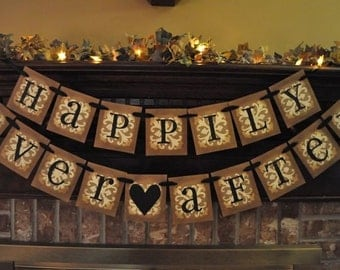 Wedding Banner Happily Ever After Wedding Shower Engagment Home Decor  Banner Garland Hanging Sign  Photo Prop (W47)