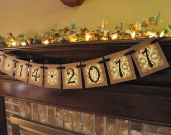 Special Date Banner Garland Hanging Sign Save the Date  Engagement Wedding Anniversary Birthday, Baby Gift Photo Prop (M9)
