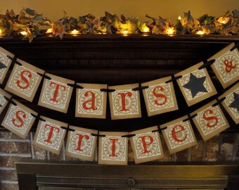 Patriotic Stars & Stripes Banner Garland  Word Sign Red White and Blue Photo Prop (P1)