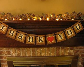 Wedding Banner Thank You with Red Heart Garland  Word Sign Photo Prop Can Custom Colors or Design (W45)