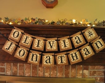 Custom Personalized Couple's Names Garland Banner Wedding Shower Gift Photo Prop Word Sign (W50)