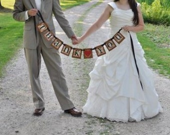 Wedding Banner Thank You from Bride and Groom Word Sign Photo Prop Can Custom Colors (W12)