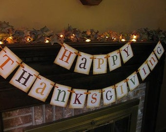 Thanksgiving Banner Fall Autumn Garland Sign Decoration Beautiful Fall Colors (TH6)