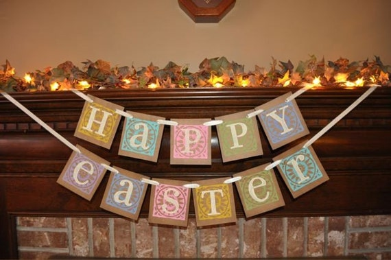 Easter Garland Happy Easter Spring Pastel Banner  Word Sign Photo Prop Hanging Decoration (E6)