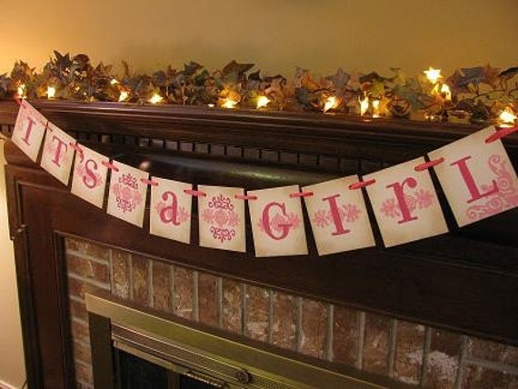 It's a Girl Banner Garland Word Sign Baby Shower Gift Nursery Wall Decor Pink Photo Prop (BG1)