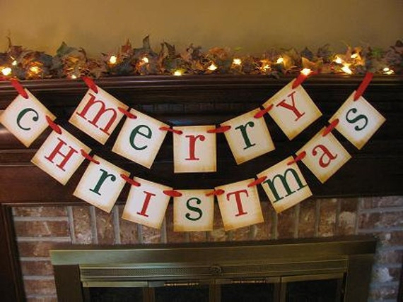 Christmas Banner Merry Christmas Red and Green December Garland  Great Photo Prop  Sign (CH3)
