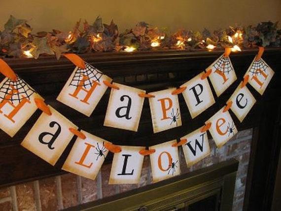 Happy Halloween Black and Orange Banner Spider Garland Great Photo Prop Sign (H2)
