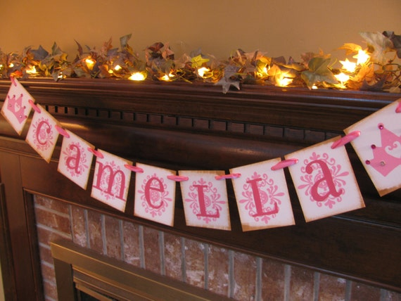 Personalized Princess Girl Name Banner Perfect for Baby Shower Nursery Can Custom Colors (GIRL5)