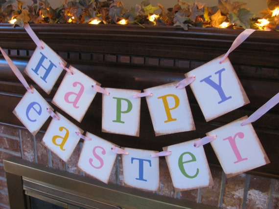 Happy Easter Spring Banner Garland Sign Pastel Colors March April Word Sign Home Decor Photo Prop (E11)