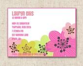 Custom Baby Shower Invitation- Pink, Green Yellow Floral Bridal Shower