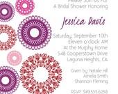 Custom Digital Bridal Shower Invitation-  Pink, Fuscia, Red Lace Circles