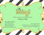 Baby Shower Invitation green and yellow- grey and White stripe, Oh Baby, gender neutral