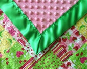 Personalized Cotton Baby Blanket with Minky Reverse and Silk Binding Cherishable Holiday Gift