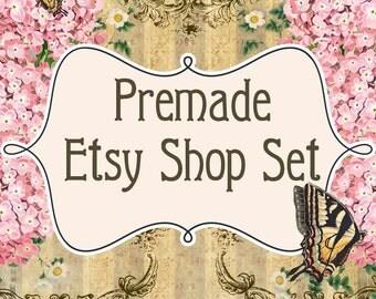 Premade Etsy Banners Shop Set - Pink Hydrangea