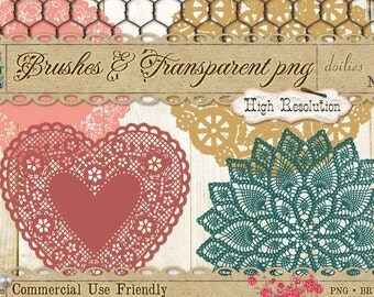 Doilies 2 Brushes and Digital Clipart PNG