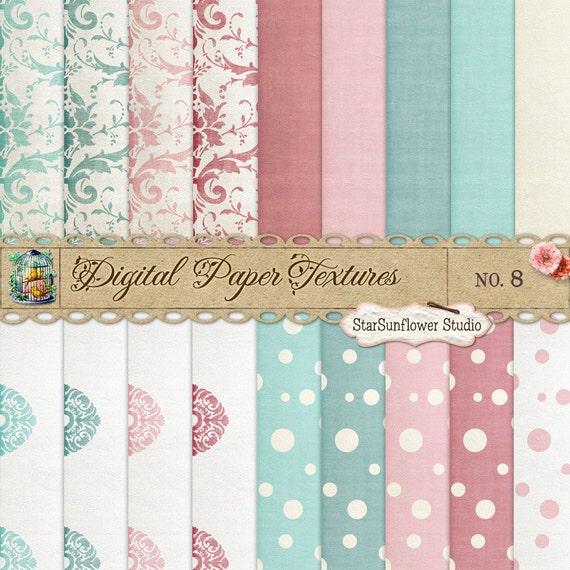 Damask & Dots Digital Scrapbook Paper Pack No 8 - 12x12