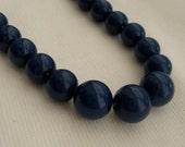 Vintage navy blue pearl necklace