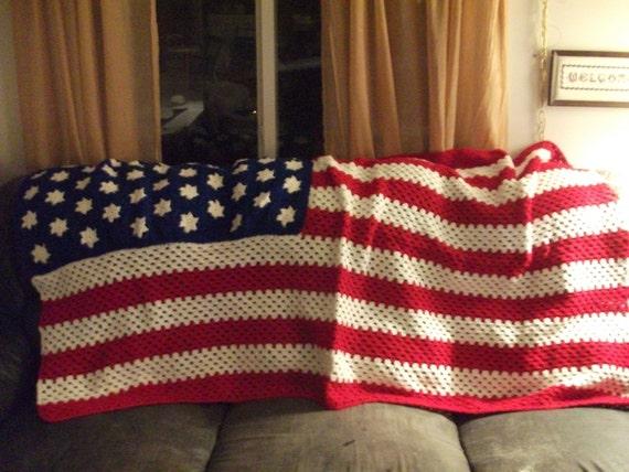 American Flag Afghan.New.
