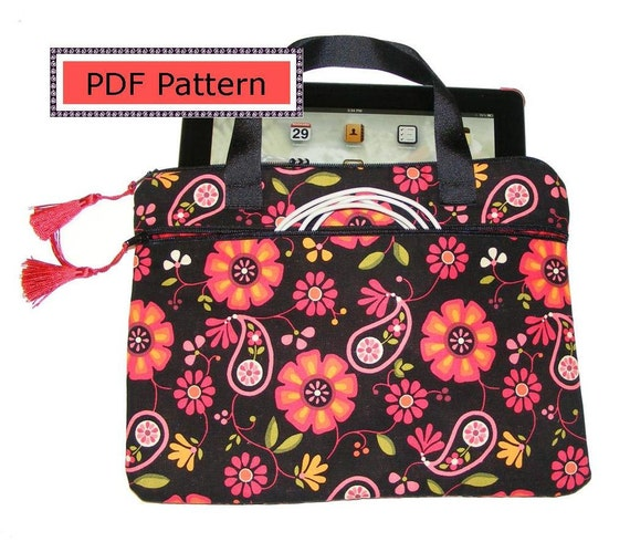 PDF Pattern iPad, new iPad, iPad 2,3, tablet or Kindle DX case cover with pocket zipper handles fully lined