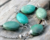 RESERVED for Caroline: Wire Wrapped Gemstone Necklace, Blue Green African Chrysocolla and Sterling Silver Chain and Wire.