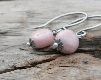 Simple Pink Candy Drops, Gemstone Earrings.  Rhodonite.  Hand Forged Sterling Silver Ear Wires.  Summer Jewelry Earrings.