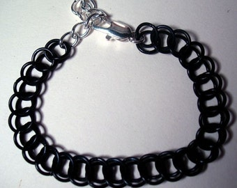 Black and Silver Half Persian Chain mail Bracelet