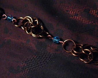 Vintage Bronze Byzantine Chain Maille Bracelet with Blue Swarovki Crystal Beads chainmaille chainmail mail jump ring jewelry jumpring brown
