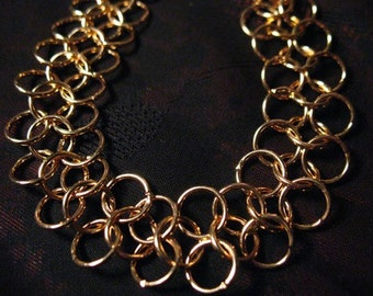 Simple Thin Gold Plate Chain Mail Cuff free shipping