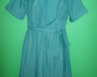 Vintage 1950s Turquoise Day Dress - X LARGE.