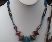 Unique Recycled Paper African Bead Necklace