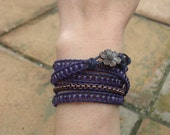Amethyst and Copper Chain Wrapped Leather Bracelet