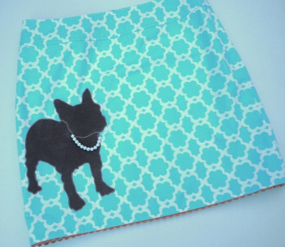 French Bulldog with Pearl Necklace Skirt- Size 8