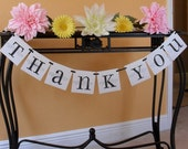 THANK YOU banner sign, Photo prop, Wedding photos, Black, White, and Silver or your Custom colors