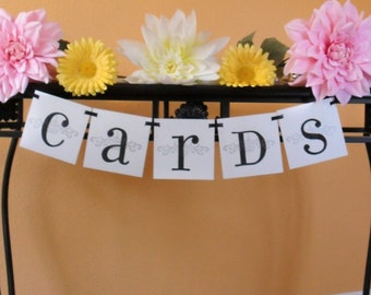 CARDS Custom banner garland in black white and silver or Custom colors for wedding
