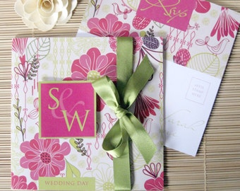 Summer Wedding Invites in Green and Pink