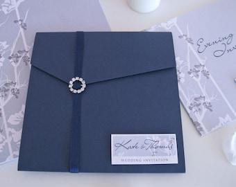Dalton Wedding Invitations in Royal Blue with Pocketfold